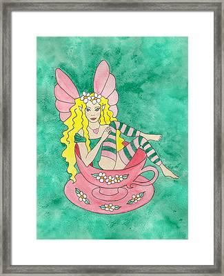 Tea Cup Fairy Framed Print