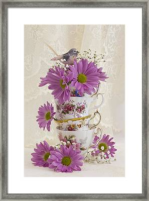 Tea Cups And Daisies  Framed Print by Sandra Foster