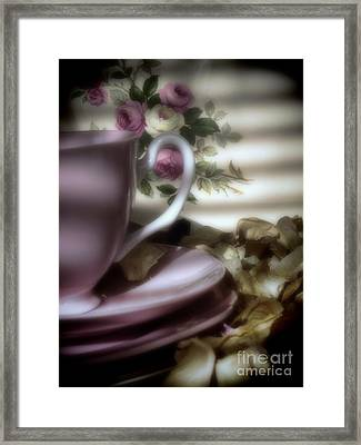 Tea Cups And Roses Framed Print by Karen Lewis
