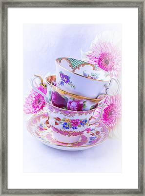 Tea Cups With Pink Mums Framed Print by Garry Gay