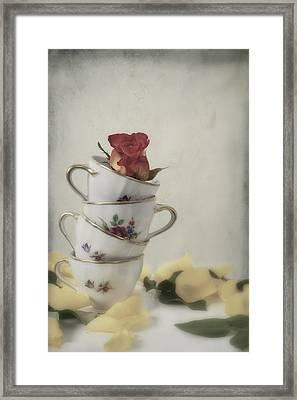 Tea Cups With Rose Framed Print by Joana Kruse