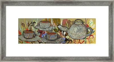 Tea For Three Framed Print by Robin Maria Pedrero