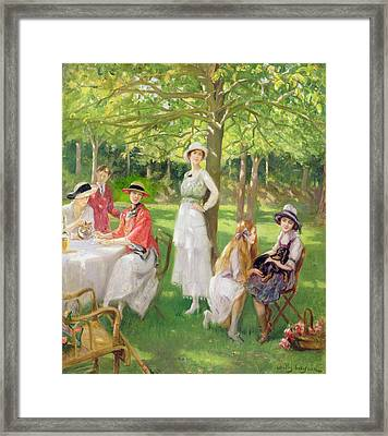 Tea In The Garden Framed Print by Jules Cayron
