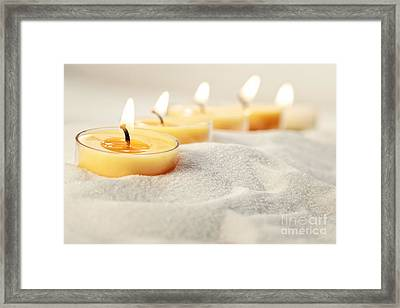 Framed Print featuring the photograph Tea Light Candles In Sand by Sandra Cunningham