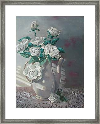 Tea Pot Roses Framed Print by Tony Caviston