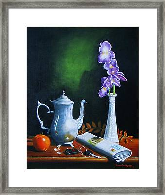 Tea Pot With Iris Framed Print by Gene Gregory