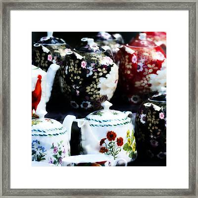Tea Pots On Table Framed Print by Tommytechno Sweden