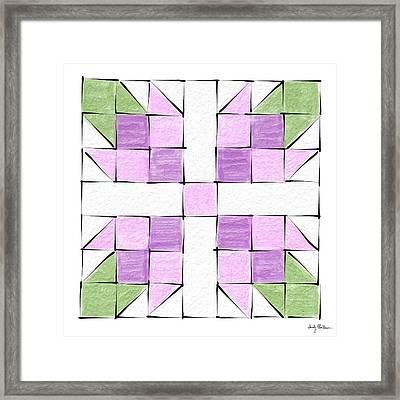 Tea Rose Quilt Block Framed Print