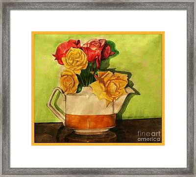 Tea Roses Bordered Framed Print