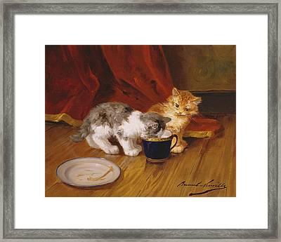 Tea Time Framed Print by Alphonse Marie de Neuville