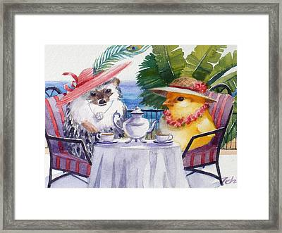 Tea Time For A Baby Chick And Hedgehog Framed Print