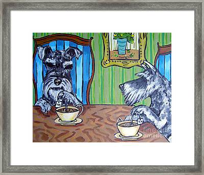 Tea Time For Schnauzers Framed Print by Jay  Schmetz