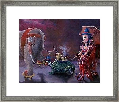 Framed Print featuring the painting Tea Time by Geni Gorani