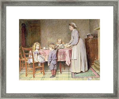 Tea Time Framed Print by George Goodwin Kilburne