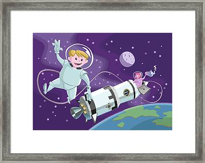 Tea Time Space Walk Framed Print by Martin Davey