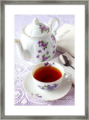 Tea Time With Bible Framed Print