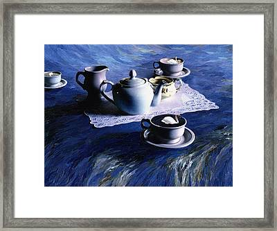 Tea Time With Gordy, 1998 Paper Mosaic Collage Framed Print by Ellen Golla