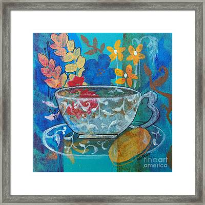 Framed Print featuring the painting Tea With Biscuit by Robin Maria Pedrero