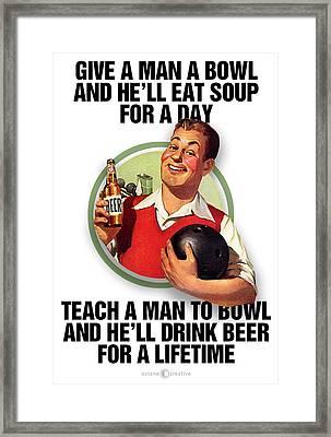 Teach A Man To Bowl Framed Print by Tim Nyberg