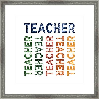 Teacher Cute Colorful Framed Print by Flo Karp