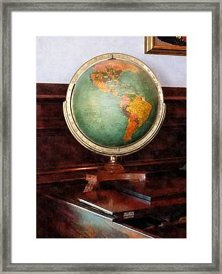 Teacher - Globe On Piano Framed Print by Susan Savad
