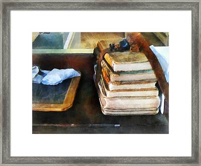 Teacher - Old School Books And Slate Framed Print