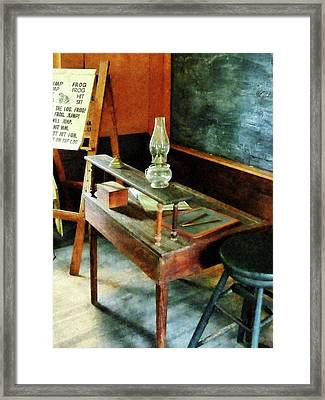 Teacher - Teacher's Desk With Hurricane Lamp Framed Print
