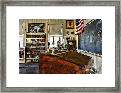 Teacher - Vintage Desk Framed Print