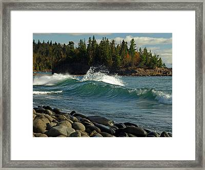 Teal Blue Waves Framed Print