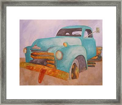 Teal Chevy Framed Print