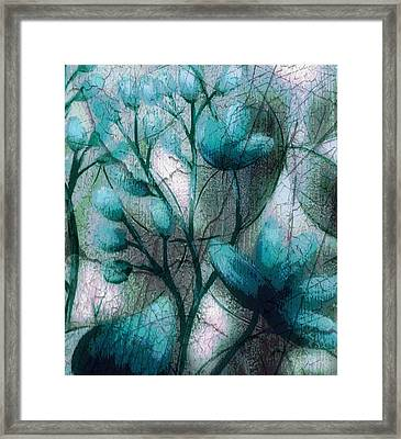 Teal Flowers Framed Print by Terry Atkins