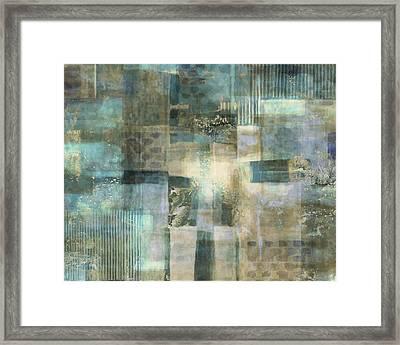 Teal Luminous Layers Framed Print by Lee Ann Asch