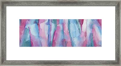 Teal Magenta And Turquoise Abstract Panoramic Painting Framed Print by Beverly Brown
