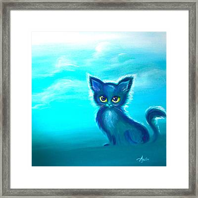 Framed Print featuring the painting Teal Meadow by Agata Lindquist