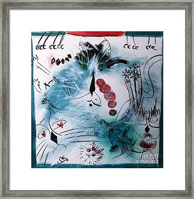 Framed Print featuring the painting Teal Multi-cat  by Leslie Byrne