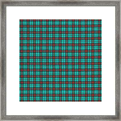 Teal Red And Black Plaid Fabric Background Framed Print by Keith Webber Jr