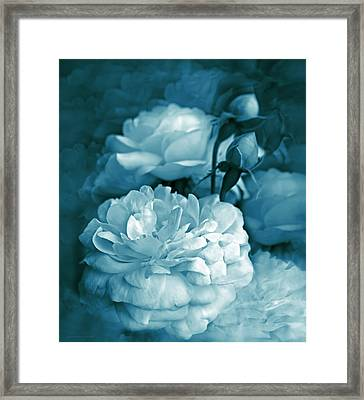 Teal Blue Roses Bouquet Framed Print by Jennie Marie Schell