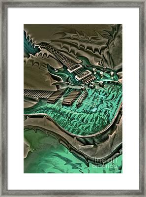 Teal Steel Digital Guitar Art By Steven Langston Framed Print by Steven Lebron Langston