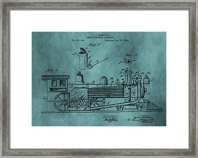 Teal Train Patent Framed Print by Dan Sproul