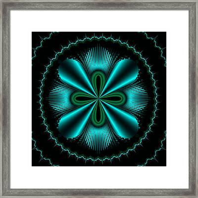 Teal Wheel Mandelbrot Framed Print by Faye Symons