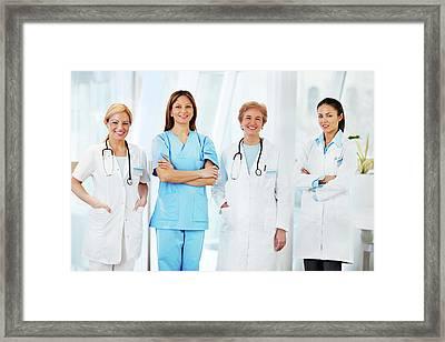 Team Of Female Doctors Framed Print by Skynesher