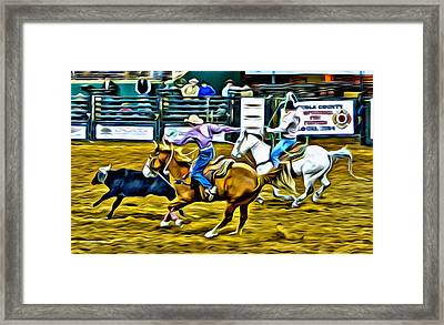 Team Ropers Framed Print by Alice Gipson