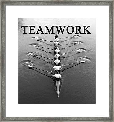 Teamwork Rowing Work A Framed Print