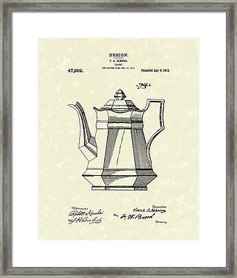 Teapot 1915 Patent Art Framed Print by Prior Art Design