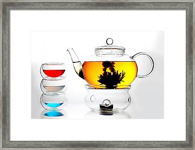 Teapot And Colorful Cups Liquid Art Framed Print by Paul Ge