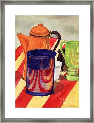 Framed Print featuring the painting Teapot And Cup Still Life by Mukta Gupta