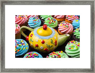 Teapot And Cupcakes  Framed Print