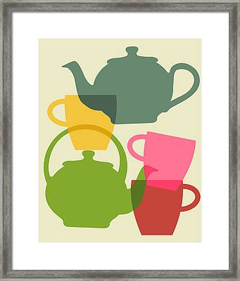 Teapot And Teacups Framed Print