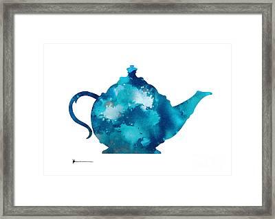 Teapot Art Print Watercolor Painting  Framed Print by Joanna Szmerdt