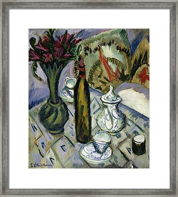 Teapot Bottle And Red Flowers Framed Print